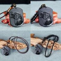 Hoge Kwaliteit Natuurlijke Zwarte Obsidiaan Gesneden Wolf Lucky Amulet Kralen Hanger Ketting Voor Vrouwen Mannen Sieraden