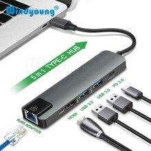 5 en 1 USB type C Hub 4K Hdmi PD USB C Hub vers Gigabit Ethernet Rj45 Lan adaptateur pour Macbook Pro Thunderbolt 3 USB C Port de chargeur