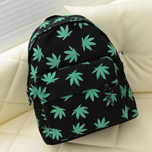 IVI Preppy schoolbag men and women nylon shoulder bag Fashion Japan zipper original hemp leaf green