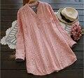 Cereja doce fio de algodão pele-friendly rústico camisa blusa de manga longa do vintage 0023
