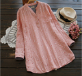 Sweet cherry cotton yarn skin-friendly rustic long sleeve vintage shirt blouse  0023