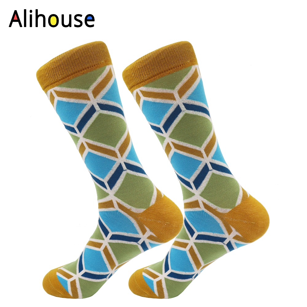 Alihouse t Mens Funny Colorful Combed Cotton Socks Rhomboid Pattern Brand Harajuku Men Socks Dress knit Crew Funny Socks