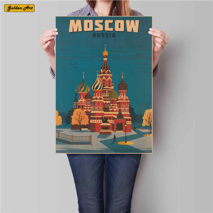 MOSCOW CITY Travel Classic Vintage Kraft Paper Poster Pub Cafe Bar Retro Decorative Sticker Painting 45.5x31.5cm