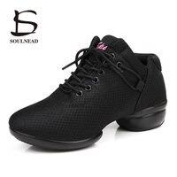 Semelle souple Chaussures De Danse de Danse Respirant Air Mesh Carré danse Chaussures Noir Blanc Rouge Jazz Hip Hop Chaussures de Femmes Sneaker