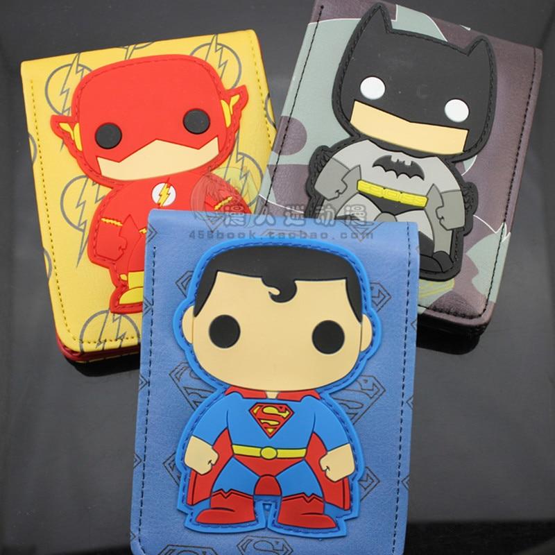 Comics Dc Marvel The Avengers Cartoon Wallet Cute Superman Iron Man  Batman 3D Purse Logo Credit Card Holder Man Wallet