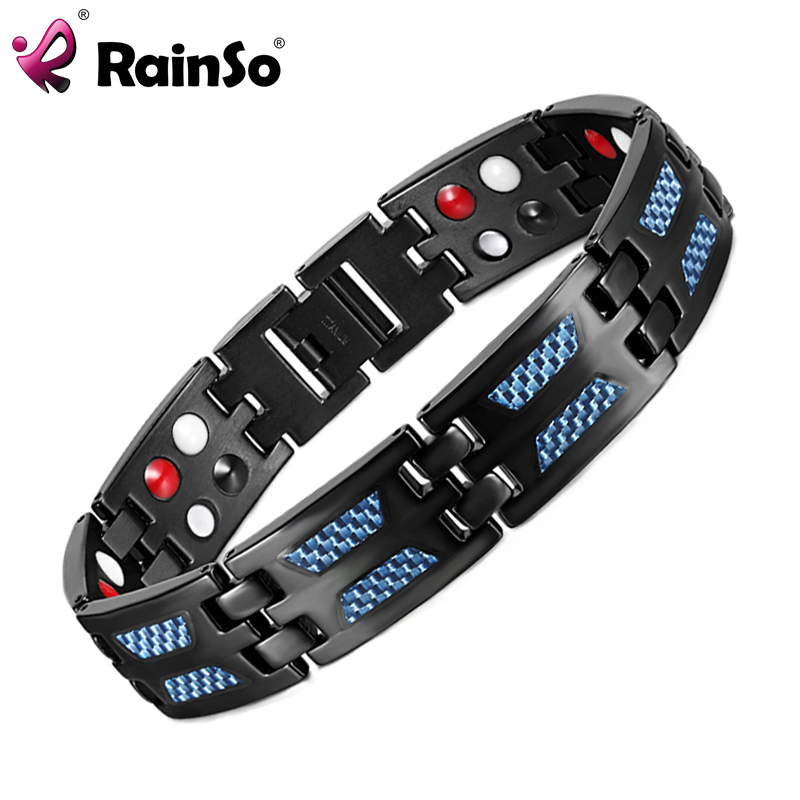 RainSo Titanium Gezondheid magnetische armband blauwe kleur 4 elementen Hoge kwaliteit luxe armbanden en cadeau voor man vrouw