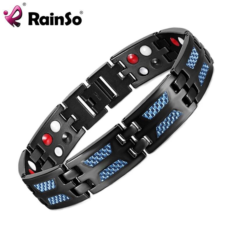 RainSo Titanium Health Magnetic Bracelet Blue Color 4 Elements High Quality Luxury Bangles & Bracelets Gift for Man Woman