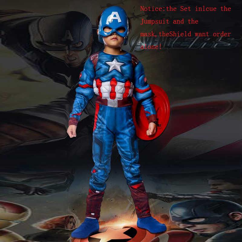 Super Hero Anak-anak Otot Kapten Amerika Kostum Anak Kostum Super Hero Kostum Halloween untuk Anak-anak Anak-anak Gadis S-XL