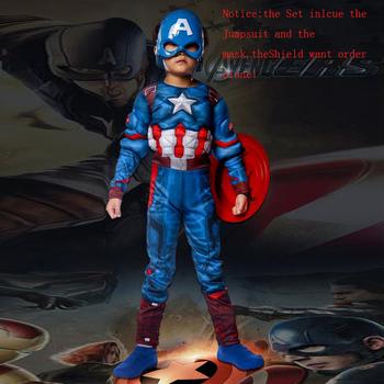 Super bohater dzieci mięśni kapitan ameryka kostium dziecko Cosplay superbohater Halloween kostiumy dla dzieci chłopcy dziewczęta S-XL tanie i dobre opinie VASHEJIANG Kombinezony i pajacyki Film i TELEWIZJA Unisex Zestawy Captain America Carnival Poliester