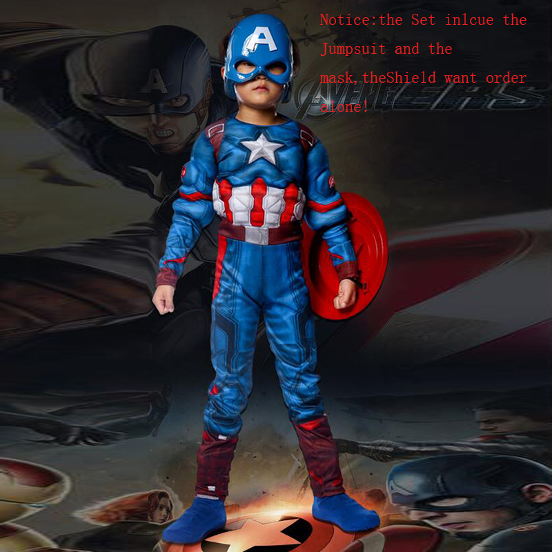 Superhero Kids Muscle Captain America Costume Child Cosplay Super - Kostymer