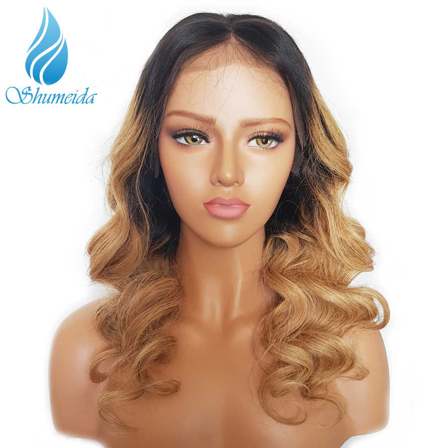 SHD 13*3 Ombre Honey Blonde Lace Front Wigs Baby Hair Brazilian Remy Hair Loose Wave Wigs for Women Glueless Lace Human Hair Wig