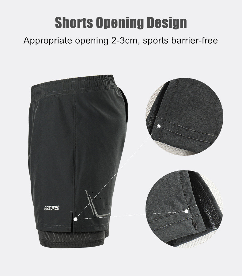 ARSUXEO Men's Running Shorts 2 In 1 Dry Fit Compression Jogging Shorts Gym Fitness Marathon Sport Shorts with Pocket and Rope