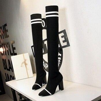 Botas de Invierno para mujer 2019, botas por encima de la rodilla de punto de alta calidad, zapatos de mujer occidentales, botas sexis de tacón alto