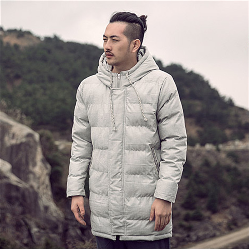 ФОТО 2016 Winter Fashion New Chinese Style Long Cotton Hooded Jacket Vintage Fabric Printing Chinese Style Men's Fashion My136