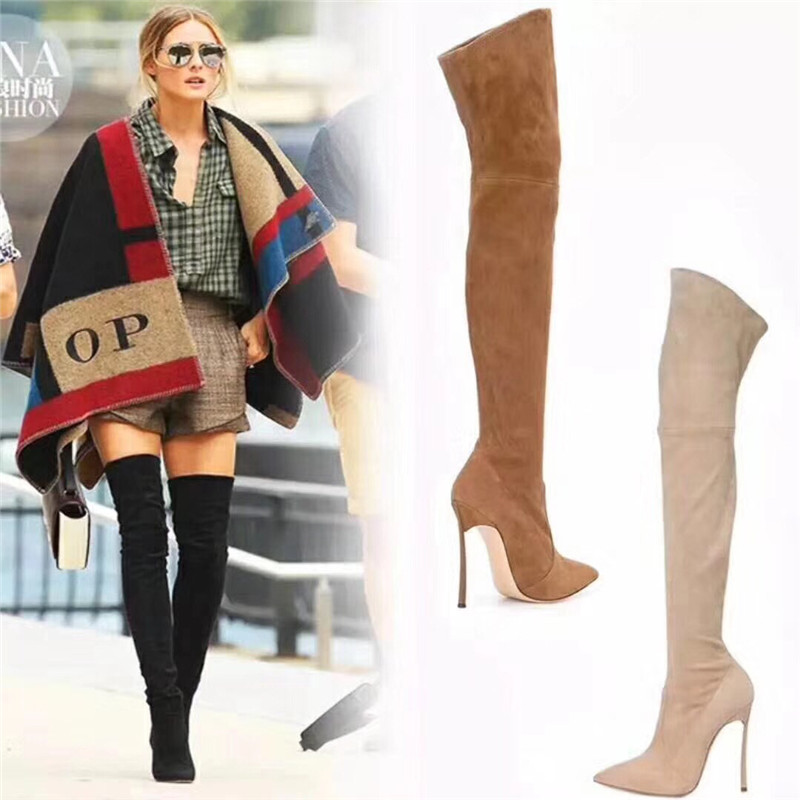 New Brown Grey Red Nude Suede Women Boots Over the Knee Thigh High Boots High Heels Spring Autumn Boots Shoes Woman Botas Mujer morazora plus size 34 43 new high quality kid suede thigh high boots women shoes over the knee stretch spring autumn botas