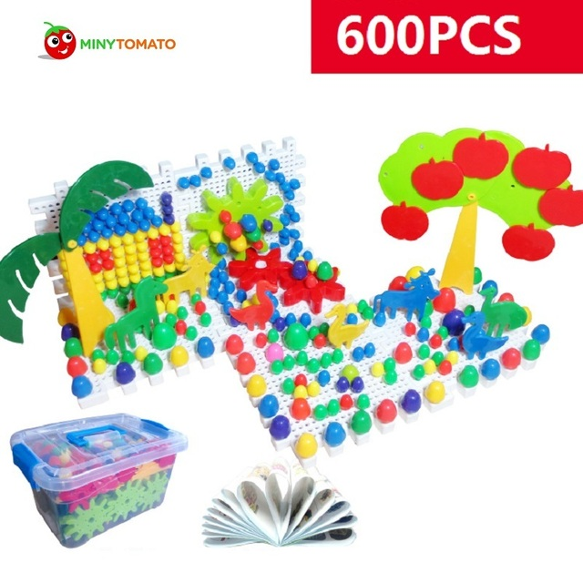 Free Shipping 600pcs Grain Mushroom Nail Beads Intelligent 3D Puzzle Games For Children Plastic Baby Kids