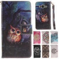 Cute Cartoon Owl Flower Leather Wallet Book Flip Fundas Case For Samsung Galaxy J5 2015 J500 J500F J5008 Back Cover Coque Capa