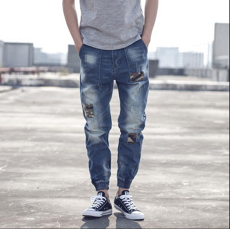 XS-4XL!!! 2018 Men camouflage patch jeans Male han edition beam foot height of pants Harlan loose big yards and feet pants