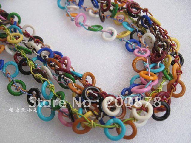 Tnl446 Tibetan Colorful Yak Bone Fuchsia Splendens Beaded Crochet
