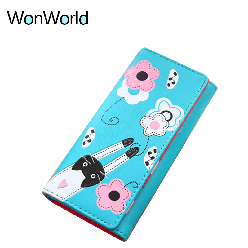 Lovely cartoon prints long Wallet Lady mini Zipper Clutch Female Travel card holder bag Coin Cash pocket womens wallet and purse 6