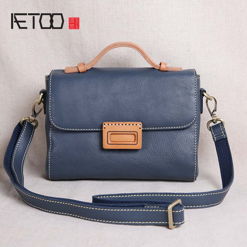 AETOO 2018 new leather handbag mini bag handmade retro literary first layer leather shoulder bag Messenger bag aetoo original new handmade first layer leather bag messenger bag shoulder leather buckle retro bag packet