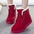 Mulheres Botas Sapatos Da Moda Das Mulheres Botas de Inverno Quente Fur Ankle Boots Para As Mulheres Sapatos de Inverno Preto Vermelho