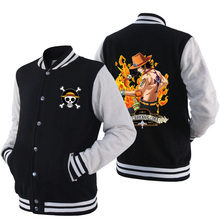 One Piece Ace Luffy Bomber jacket Boys Girls Fleece Cardigan Thickening for Autumn and Winter