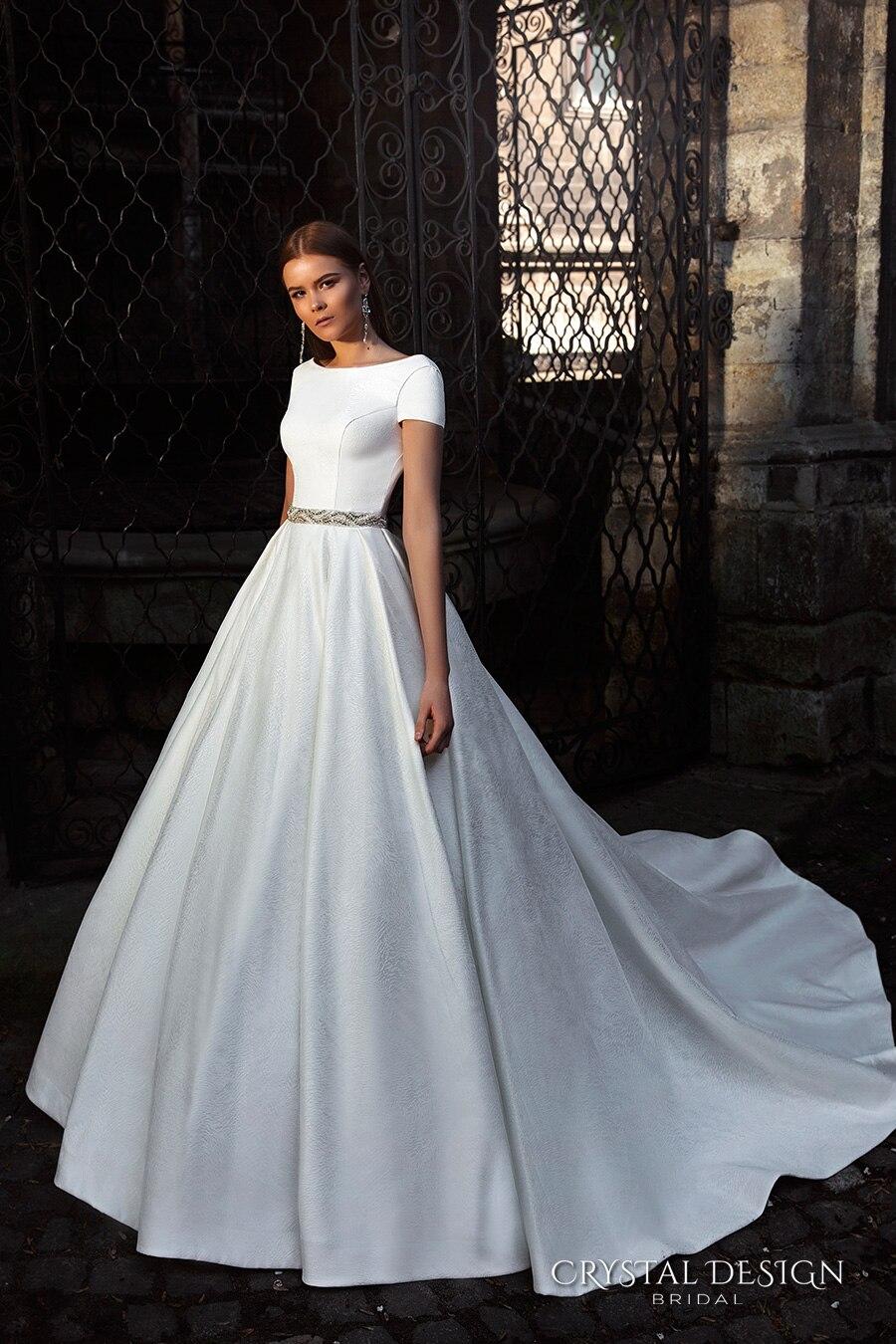 Muslim Short Sleeve robe de mariee sirene Lace Crystal Sash Satin ...