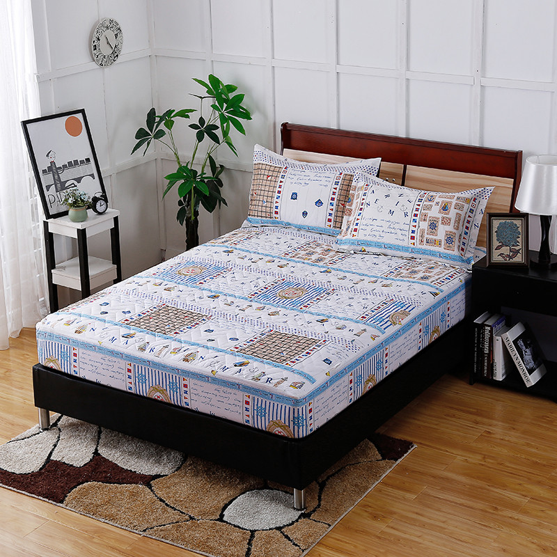Fashion New Print Pattern Of Home Three Sets Of 22 Kinds Of Styles Optional Comfortable Breathable Fitted Sheet + Pillowcase