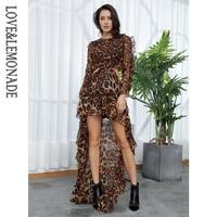 Love&Lemonade Sexy Cut Out Open Black Leopard Chiffon Dress LM81503