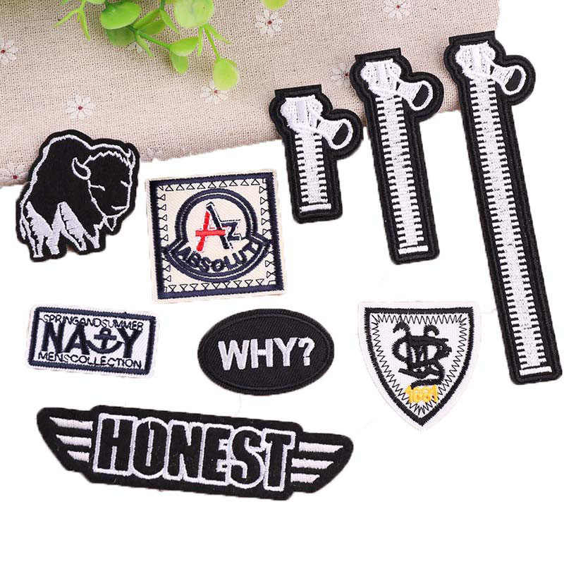 1PC Bordir Jahit Zipper Patch Bordiran Besi Pakaian Parchs Rock Stiker Lencana Jeans Ransel Lucu Patch DIY