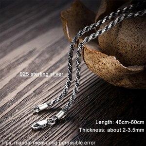 Image 3 - V.YA Retro lina kręcona łańcuszkowy naszyjnik dla mężczyzn kobiety 925 srebro naszyjnik mężczyzna czarny tajski biżuteria srebrna