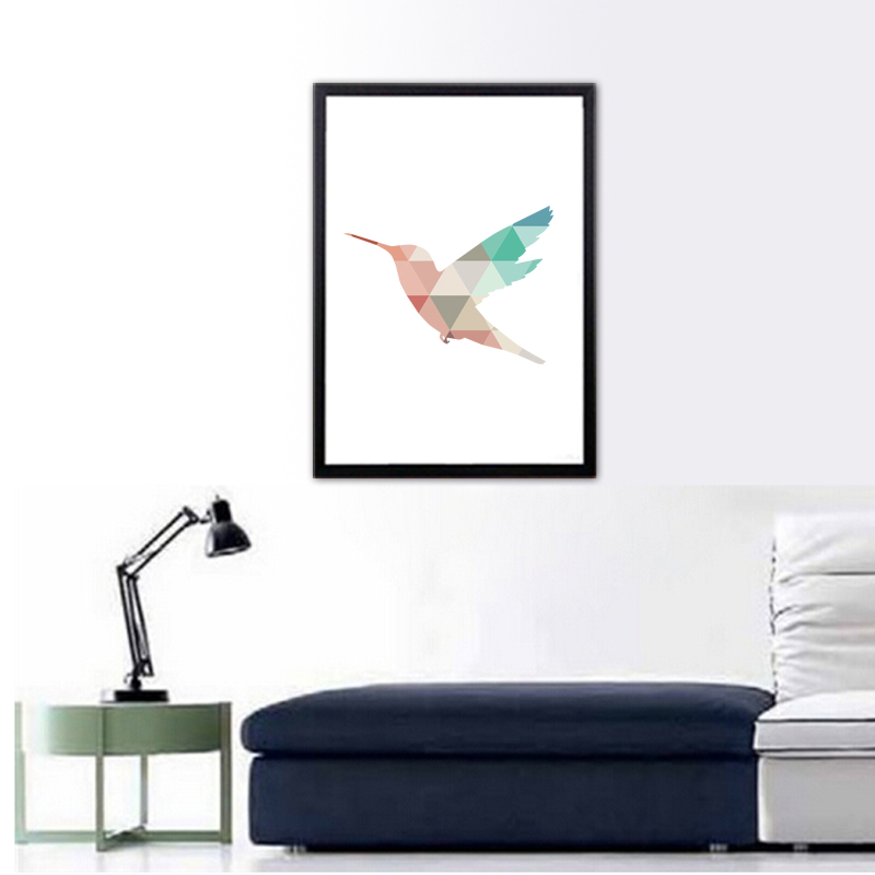 Nursery Coral Mint Geometric Hummingbird Canvas wall Poster,Colibri bird picture,not oil painting,no frame