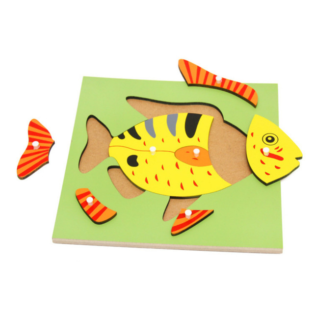 Montessori PLYWOOD Nature Puzzle Cartoon Frog/Horse/Fish/Tree/Flower Panel Wooden Jigsaw Board Educational Game Kid Fun Toy -48