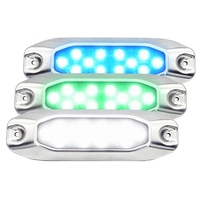 Value Pack 4x High Power 7 Ultra Slim Blue White Green LED Marine Dock Fishing Transom Underwater Lights for Boat Yacht 316G SS