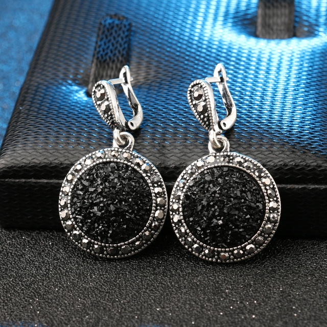 Silver Plated Vintage Bohemian Black Broken Stone Earrings