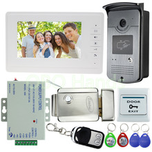 """Con conexión de cable 7 """"Teléfono Video de La Puerta Sistema de Entrada de Intercomunicación 1 Monitor + 1 RFID IR de la Cámara de Acceso + Cerradura Eléctrica Para Villa Envío Rápido Libre"""