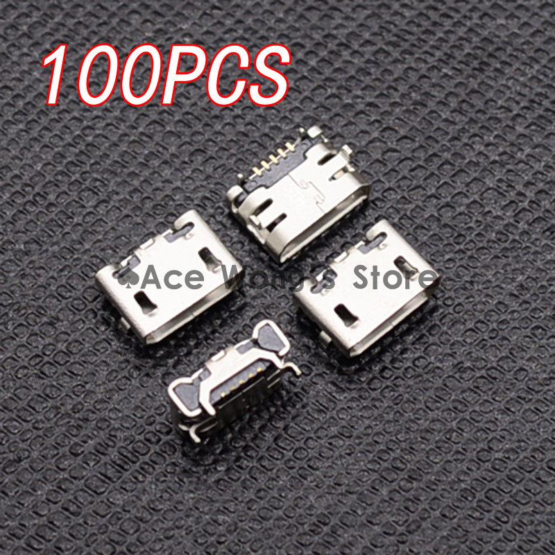 100pcs Micro USB Connector Jack Female Type 5Pin SMT for phones Tail Charging socket PCB Board (Flat interface) 20pcs micro usb 5pin no side ox horn female usb socket flat mouth four legs socket mini usb connector free shipping