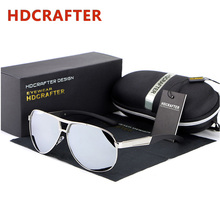 HDCRAFTER Brand Designer Aviator Sunglasses Men Polarized Mirror Coating Sunglass UV400 Driving Fishing Glasses with Case Oculos