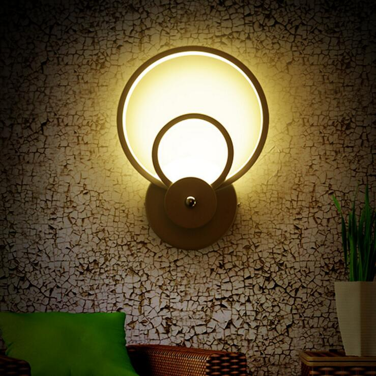 Modern simple LED wall lamp round living room corridor aisle staircase lamp bedroom study acrylic bedside lighting fixture bedroom bedside wood led aisle corridor light northern europe simple living room wooden acrylic round wall lamp free shipping