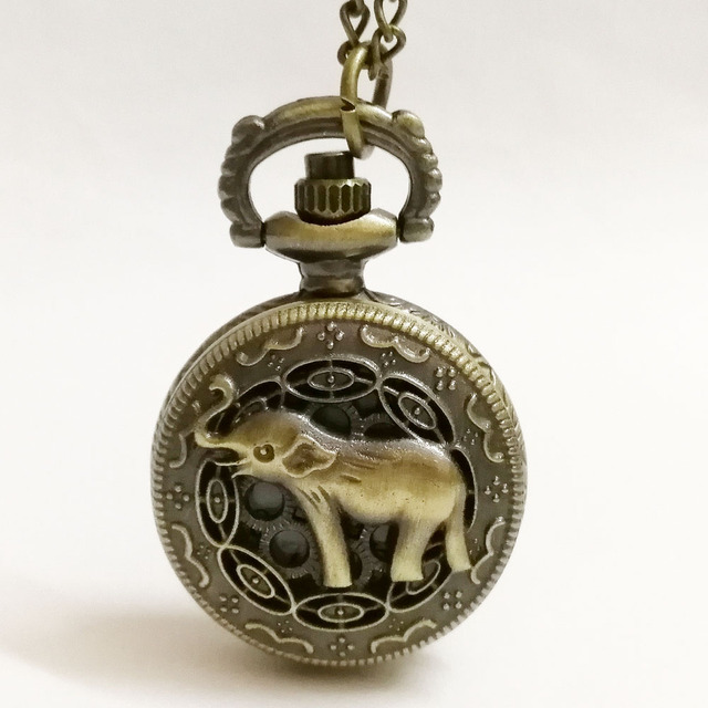 New Fashion Small Elephant Carved Flower Quartz Pocket Watch Men Women Watches A