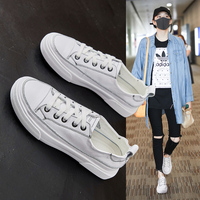 2019 new hot Women's Flats 22.5 24.5 cm feet length Flat sneakers sports and leisure shoes Leather casual white shoes Flat soft