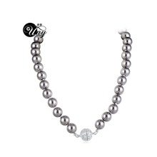 UNY designer Inspired Short Imitation Pearl Necklace 40cm Rhinestone Ball Magnetic Claps Classic Elegant Jewelry Free Shipping