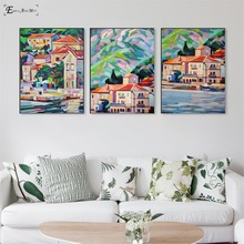 Mediterranean Sea Landscape Crayon Canvas Painting Posters And Prints For Living Room No Framed Wall Art Picture Home Decor