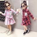 2-6A, 2017 Nova Primavera Meninas Vestido de Manga Longa Crianças Grade Vestido Crianças Bebê Vestido Xadrez Vestido de Verão Estilo Preppy