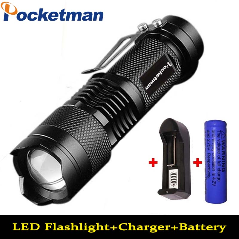 2000LM Mini LED Flashlight Waterproof CREE Q5 3 Modes Zoomable Torch Penlight Flash Light +charger+14500 Battery free shipping cree led flashlight 3 modes zoomable torch penlight flashlight portable lighting