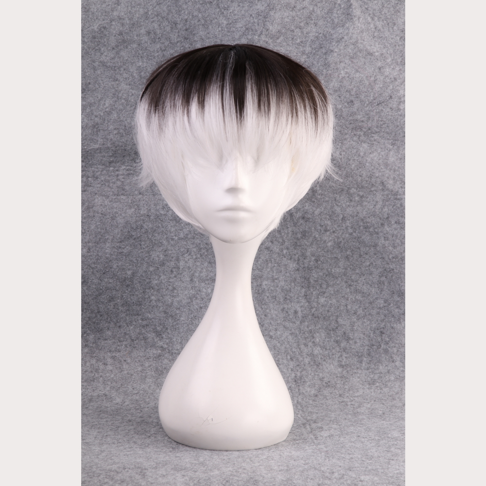 30cm Tokyo Ghoul Haise Sasaki Cosplay Wig 28cm Short Synthetic Hair Black White Ombre Anime Wig Perucas Wig cap in Anime Costumes from Novelty Special Use