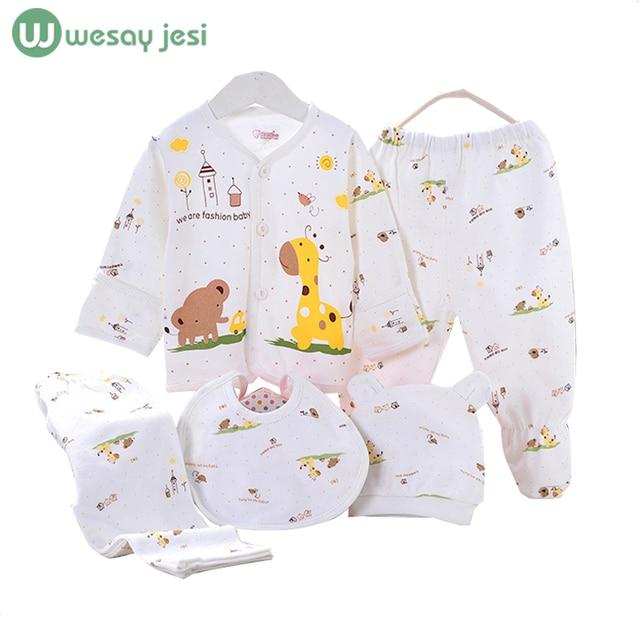 5 ШТ. девочка одежда 0-3 М 2016 Весна лето печати мультфильм одежда для новорожденных набор хлопок новорожденного мальчика детская одежда наряд