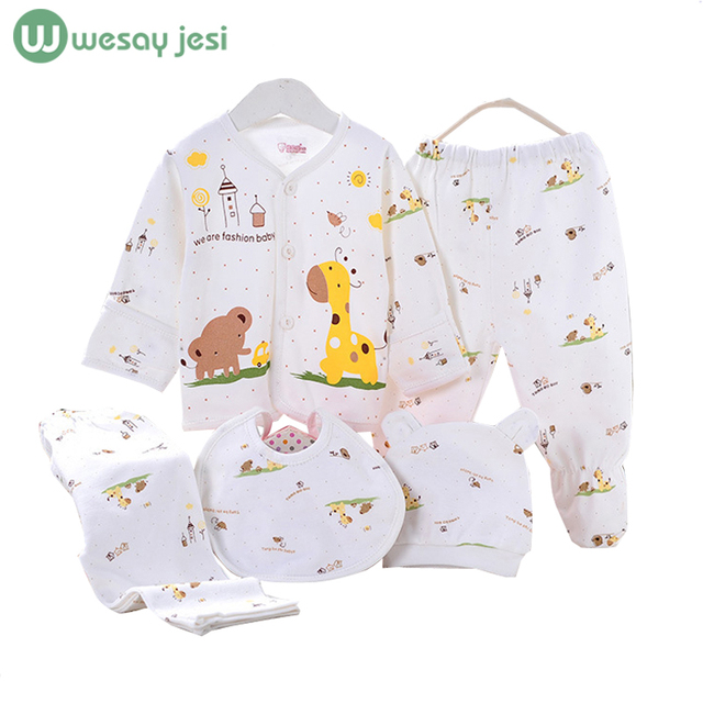 5PCS baby girl clothes 0-3M 2016 Spring summer print cartoon newborn clothing set cotton new born baby boy clothes baby outfit