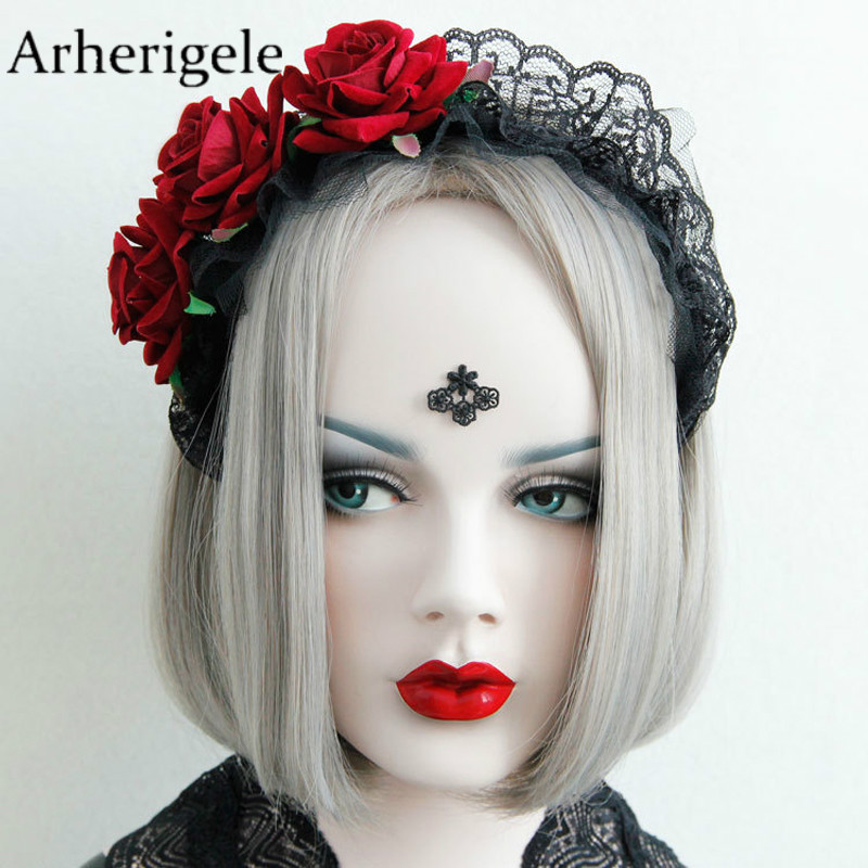 Arherigele 1pc Lace Flower Crown Red Rose Hair Bands for Women's Headbands   Headwear   Fashion Hair Hoop Styling Tools Accessories